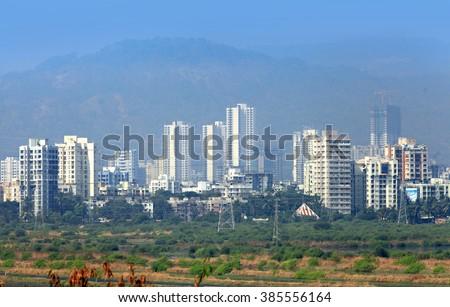 Mulund landscape suburbs of Mumbai city in India - stock photo