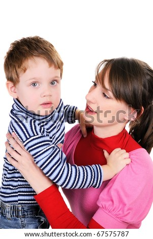 Mum embraces the small son on a white background