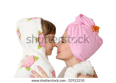 Mum with the daughter after bathing - stock photo