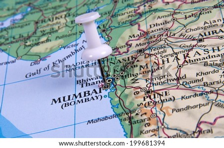 Mumbai in the map with pin - stock photo