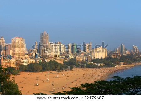 "MUMBAI, INDIA - DECEMBER 6, 2015: Juhu beach in Mumbai is home to many Bollywood celebrities referred as ""Beverly Hills of Bollywood"" , on December 6, 2015 in South Mumbai, India."