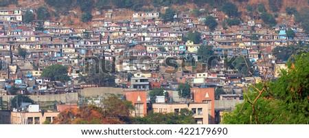Mumbai, India - December 5, 2015 - Slum view from Vikhroli, 54% of Mumbai population lives in the slums. - stock photo