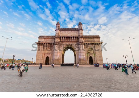 MUMBAI, INDIA - FEBRUARY 21: Gateway of India on Febuary 21, 2014 in Mumbai, India. - stock photo
