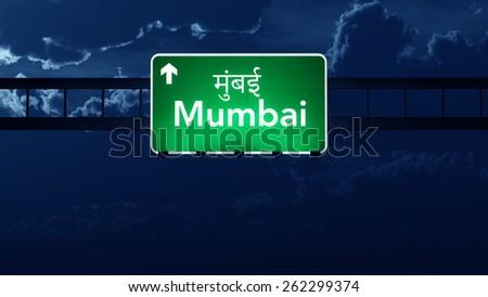 Mumbai India Highway Road Sign at Night - stock photo