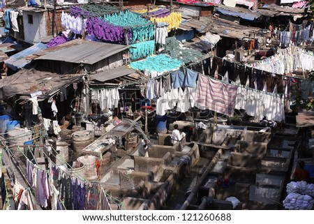 Washed Articles Drying Dhobi Ghat Open Stock Photo ...