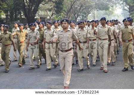 Mumbai, India - January 23, 2014 - Police parading near Marine Drive  during the rehearsal on 23 January 2014 for India's Republic Day to be held on 26 January 2014  - stock photo