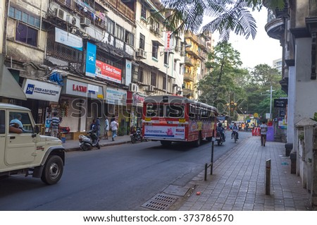 Mumbai, India - January 10th 2016 - Local people in a average street of south Mumbai, India, Asia.