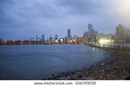 Mumbai skyline at night, India - stock photo
