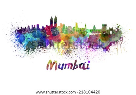 Mumbai skyline in watercolor splatters with clipping path - stock photo