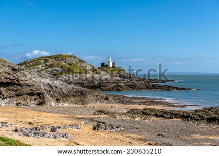 Mumbles Lighthouse, Swansea, Wales, UK