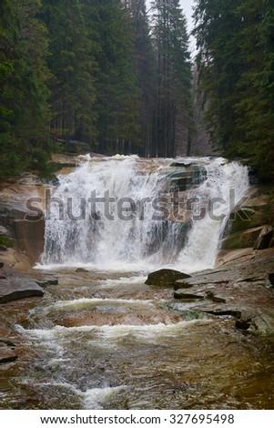 Mumlava Waterfall, Giant Mountains, Czech Republic, Europe - stock photo