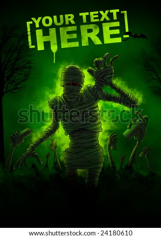 mummy in forest, green smoke - stock photo