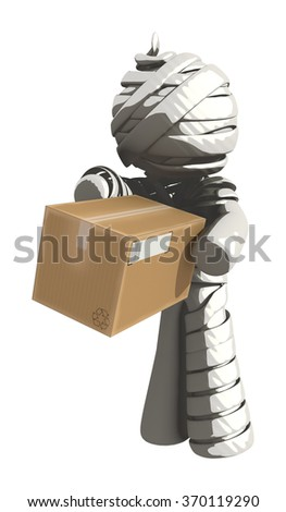 Mummy or Personal Injury Concept Receiving a Box - stock photo