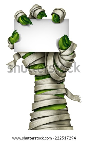 Mummy sign with a mummified creepy monster hand wrapped in old dirty bandages holding a blank card isolated on a white background as a symbol for a halloween costume party invitation.costume  - stock photo