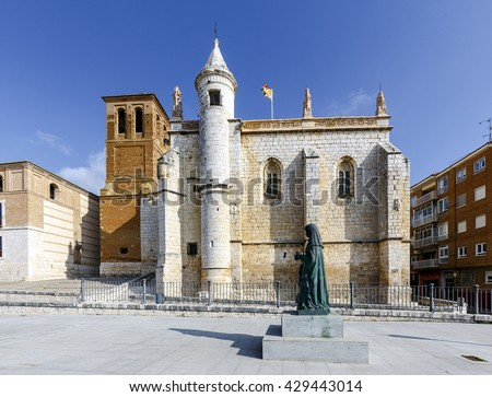 Mun Antolin church in Tordesillas (Spain), located in the province of Valladolid, where Reyes Catholics signed the Treaty of Tordesillas with the Portuguese crown in 1494. - stock photo