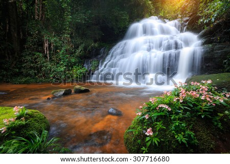 Mun Daeng Waterfall, the beautiful waterfall in deep forest at Phu Hin Rong Kla National Park in Thailand