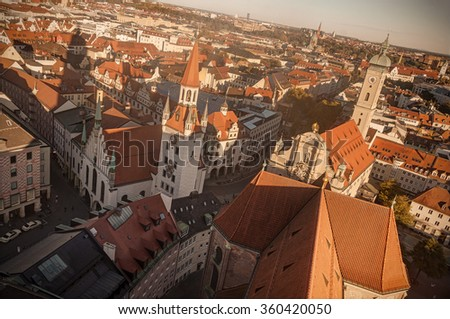 Munchen, Bavaria, Germany: aerial view of Altes Rathaus and Heilig-Geist-Kirche from Peterskirche's bell tower.  - stock photo
