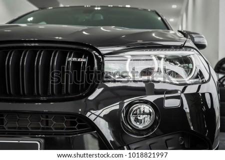 Munchen Germany   February 06, 2018: Car BMW X6 M Black Fire Edition At