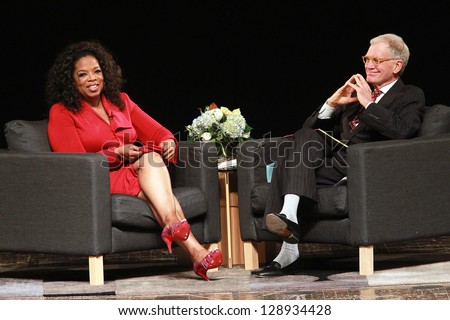 MUNCIE, IND-NOVEMBER 26 : Historic interview of Oprah Winfrey by Dave Letterman, at Ball State University in Muncie,IND on November 26, 2012. - stock photo