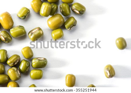 Mung bean with cover isolated on white background - stock photo