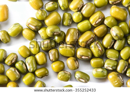 Mung bean with cover isolated on white background