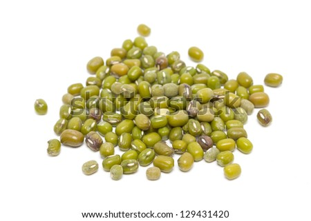 Mung beans isolated on white. - stock photo