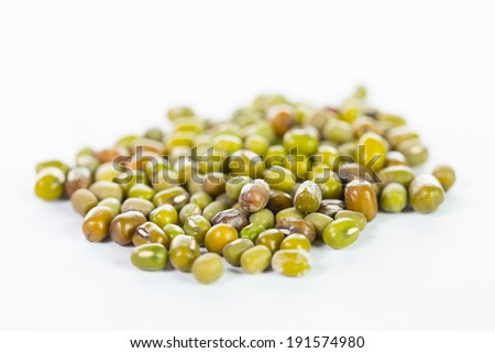 Mung beans  isolated with white background