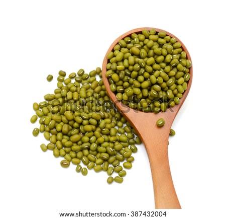 Mung beans piled isolated on white background - stock photo