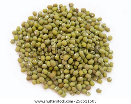Mungbean seeds on white background