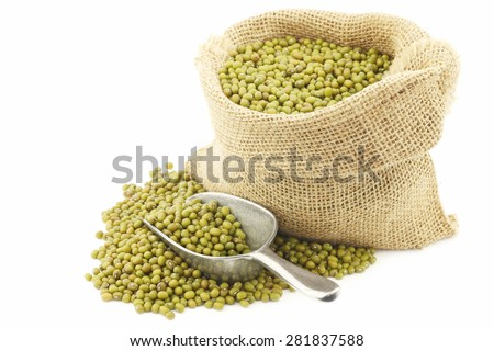 Mungo beans (Vigna radiata) in a burlap bag on a white background - stock photo