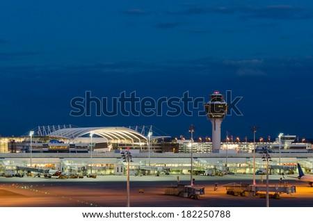 Munich Airport at Night, Munich, Bavaria, Germany. - stock photo