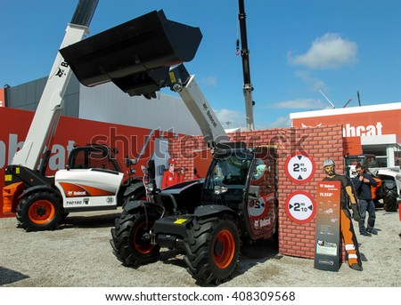 Munich, April 13, 2016: Telehandler Bobcat TL358 at bauma Munich 2016 - stock photo
