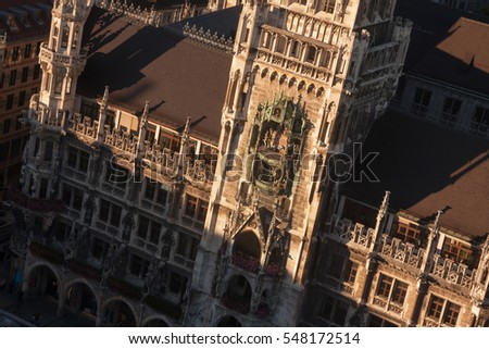 Munich, Bavaria, Germany: aerial view of Neues Rathaus (new Town Hall) and Glockenspiel.