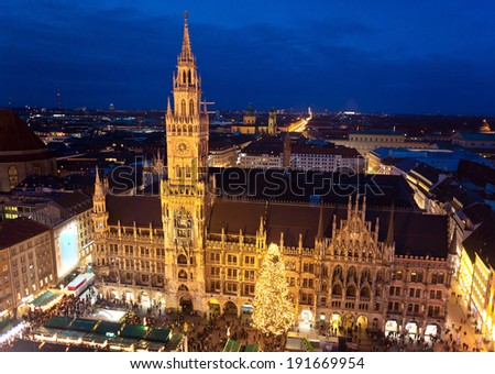 MUNICH, BAVARIA, GERMANY - DECEMBER 23, 2013: Aerial image of Marienplatz square with christmas markets in Munich, Germany. - stock photo