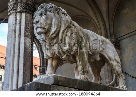 Munich, Bavarian Lion Statue in front of Feldherrnhalle, Bavaria, Germany - stock photo