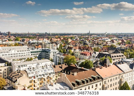 Munich cityscape - aerial view over Munich (Bavaria, Germany) - stock photo