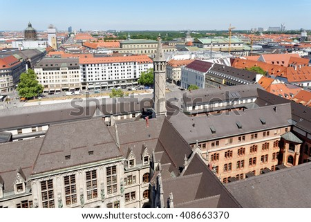 Munich, Germany. Aerial view from the New Town Hall. - stock photo
