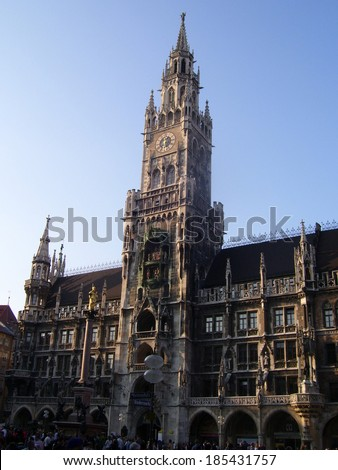 MUNICH, GERMANY - APR 10, 2009: Marienplatz has been the city's main square since 1158. Munich is the biggest city of Bavaria with almost 100 million visitors a year.