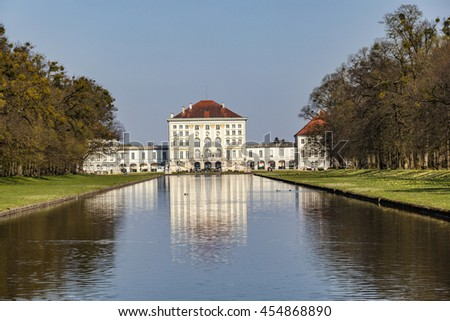 MUNICH, GERMANY - APR 20, 2015: Nymphenburg castle grounds in Munich, Germany. The castle ground is open for public.