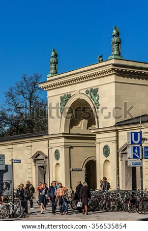 MUNICH, GERMANY - APRIL 21, 2015: Cityscape of the old town. Munich is the capital and largest city of the German state of Bavaria.