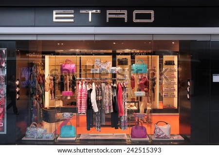 MUNICH, GERMANY - APRIL 1, 2014: Etro store at Munich International Airport in Germany. The fashion company founded in 1968 has 200 stores around the world.