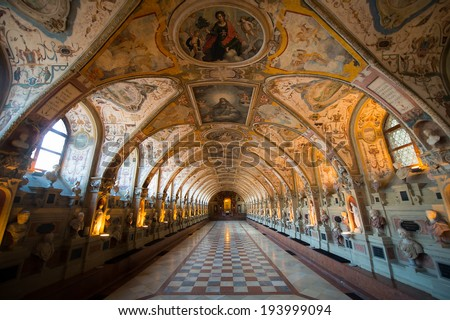 MUNICH, GERMANY - APRIL 12: Interior of the Antiquarium in the Munich Residence on April 12, 2014 in Munich, Germany. The Residence is the former royal palace of the Bavarian monarchs.  - stock photo