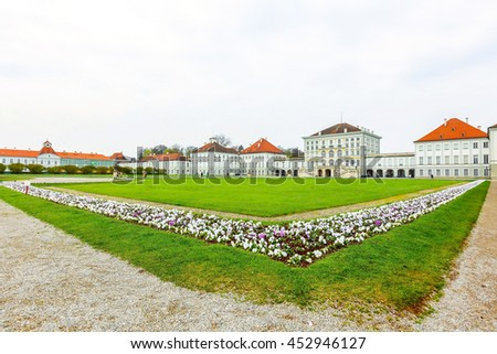 MUNICH, GERMANY- APRIL 10, 2016; Nymphenburg palace. One of the famous tourist attraction in Bavaria of Germany.