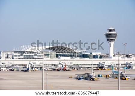 MUNICH, GERMANY - APRIL 9: Planes in parking position at the the airport of Munich, Germany on April 9, 2017. The ariport has over 40 million passengers a year.