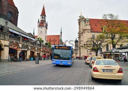 munich, germany - april 25: the streets of munich city, germany. shot taken on april 25th, 2015 - stock photo