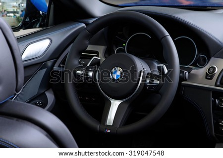MUNICH, GERMANY - 4 AUGUST 2015: BMW interior, photo made at BMW World showroom in Munich, Germany. - stock photo