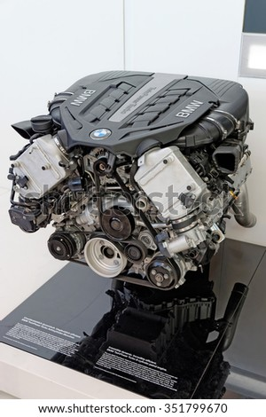 MUNICH, GERMANY - 4 AUGUST 2015: BMW TwinPower Turbo 8-cylinder petrol engine exhibited at BMW World showroom - stock photo