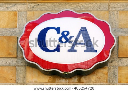 MUNICH, GERMANY - AUGUST 3, 2015: C&A brand logo. It is an international Dutch chain of fashion retail clothing stores with  headquarters in Belgium and Germany. - stock photo