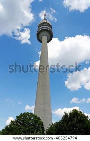 MUNICH, GERMANY - AUGUST 4, 2015: Detail of the Olympic Tower in Munich. Germany. It was built for the 1972 Summer Olympics. It has an overall height of 291m and a weight of 52,500 tons. - stock photo
