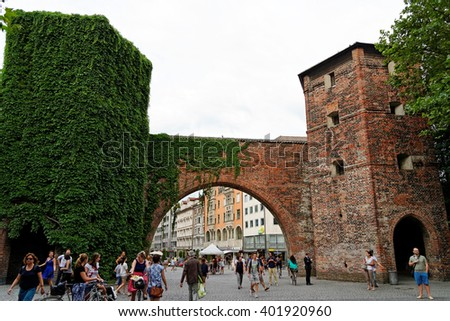 MUNICH, GERMANY - 4 AUGUST, 2015: Front view of Sendlinger Tor and the begining of Sendlinger Strasse. - stock photo
